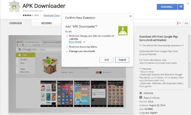 APK Downloader یکی از چندین افزونه موجود برای کروم